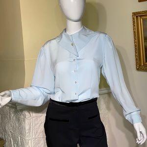 Vintage 80's Powder Blue Fancy Collar Blouse